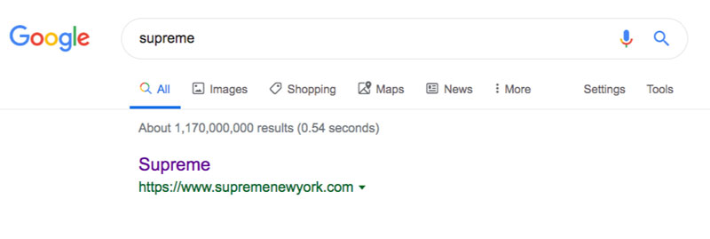 supreme google search results